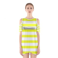Bright Yellow and White Stripes Cutout Shoulder Dress
