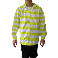 Bright Yellow And White Stripes Hooded Wind Breaker (kids)