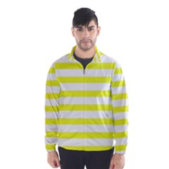 Bright Yellow and White Stripes Wind Breaker (Men)