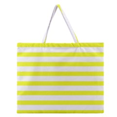 Bright Yellow and White Stripes Zipper Large Tote Bag