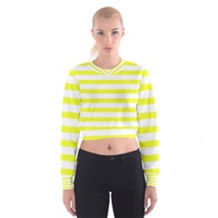 Bright Yellow and White Stripes Women s Cropped Sweatshirt