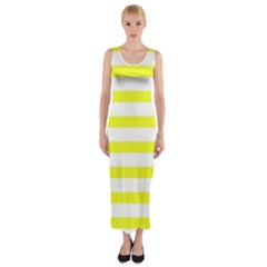Bright Yellow and White Stripes Fitted Maxi Dress