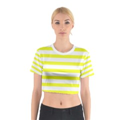 Bright Yellow And White Stripes Cotton Crop Top