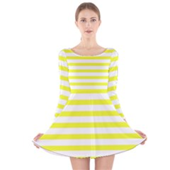 Bright Yellow and White Stripes Long Sleeve Velvet Skater Dress