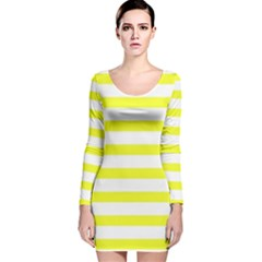 Bright Yellow and White Stripes Long Sleeve Velvet Bodycon Dress