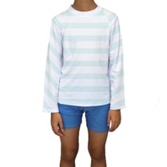 Baby Blue and White Stripes Kid s Long Sleeve Swimwear