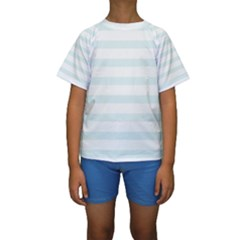 Baby Blue And White Stripes Kid s Short Sleeve Swimwear