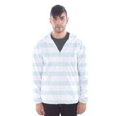 Baby Blue and White Stripes Hooded Wind Breaker (Men)