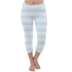 Baby Blue and White Stripes Capri Winter Leggings