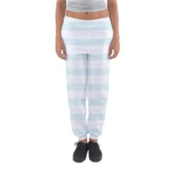 Baby Blue and White Stripes Women s Jogger Sweatpants