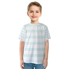 Baby Blue and White Stripes Kid s Sport Mesh Tee