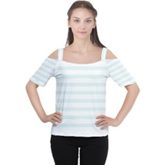 Baby Blue and White Stripes Women s Cutout Shoulder Tee