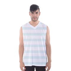 Baby Blue And White Stripes Men s Basketball Tank Top