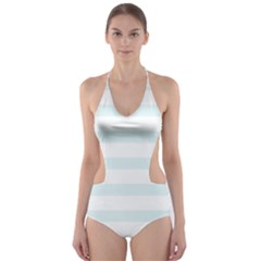 Baby Blue and White Stripes Cut-Out One Piece Swimsuit