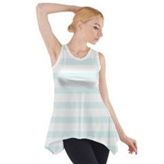 Baby Blue and White Stripes Side Drop Tank Tunic