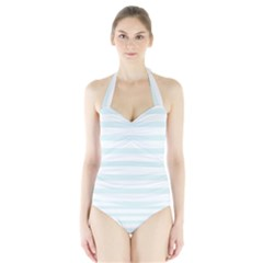 Baby Blue and White Stripes Women s Halter One Piece Swimsuit