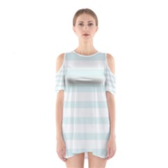 Baby Blue and White Stripes Cutout Shoulder Dress