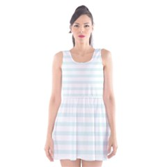 Baby Blue and White Stripes Scoop Neck Skater Dress