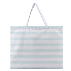 Baby Blue and White Stripes Zipper Large Tote Bag