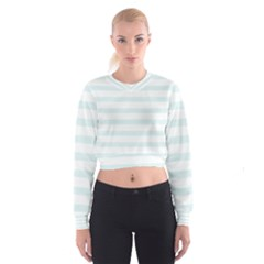 Baby Blue and White Stripes Women s Cropped Sweatshirt