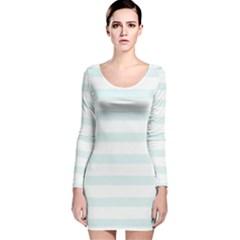 Baby Blue And White Stripes Long Sleeve Velvet Bodycon Dress