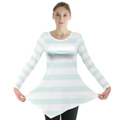 Baby Blue and White Stripes Long Sleeve Tunic
