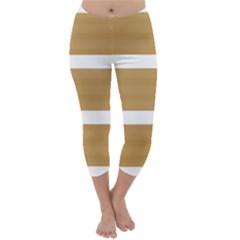 Beige/ Brown and White Stripes Design Capri Winter Leggings