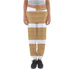 Beige/ Brown And White Stripes Design Women s Jogger Sweatpants