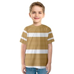 Beige/ Brown and White Stripes Design Kid s Sport Mesh Tee