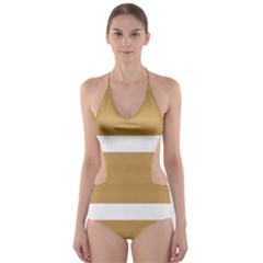 Beige/ Brown and White Stripes Design Cut-Out One Piece Swimsuit