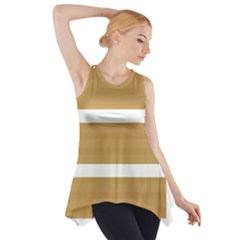Beige/ Brown and White Stripes Design Side Drop Tank Tunic