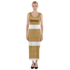 Beige/ Brown And White Stripes Design Fitted Maxi Dress
