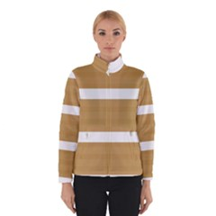 Beige/ Brown and White Stripes Design Winterwear