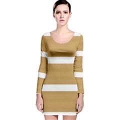 Beige/ Brown and White Stripes Design Long Sleeve Velvet Bodycon Dress