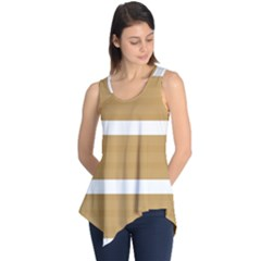Beige/ Brown and White Stripes Design Sleeveless Tunic