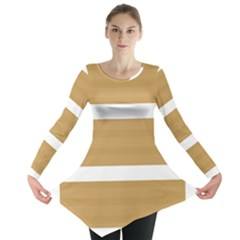 Beige/ Brown And White Stripes Design Long Sleeve Tunic