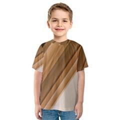 Metallic Brown/neige Stripes Kid s Sport Mesh Tee