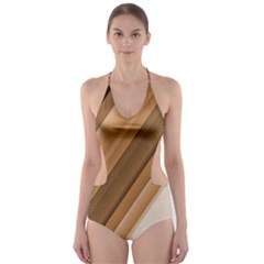 Metallic Brown/Neige Stripes Cut-Out One Piece Swimsuit