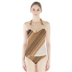 Metallic Brown/Neige Stripes Women s Halter One Piece Swimsuit