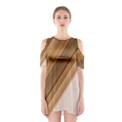 Metallic Brown/Neige Stripes Cutout Shoulder Dress
