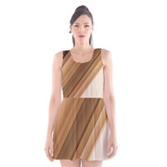 Metallic Brown/Neige Stripes Scoop Neck Skater Dress