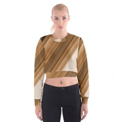 Metallic Brown/neige Stripes Women s Cropped Sweatshirt
