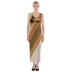 Metallic Brown/Neige Stripes Fitted Maxi Dress