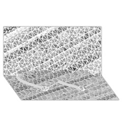 Silver Abstract And Stripes Twin Heart Bottom 3d Greeting Card (8x4)