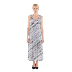 Silver abstract and Stripes Full Print Maxi Dress