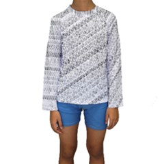 Silver abstract and Stripes Kid s Long Sleeve Swimwear