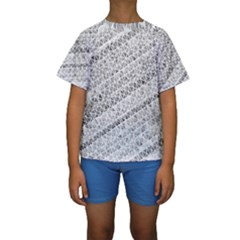 Silver Abstract And Stripes Kid s Short Sleeve Swimwear