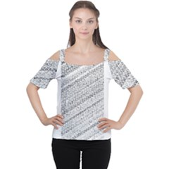 Silver abstract and Stripes Women s Cutout Shoulder Tee
