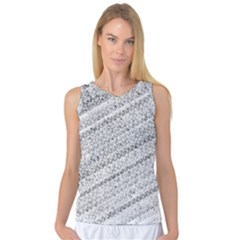 Silver abstract and Stripes Women s Basketball Tank Top