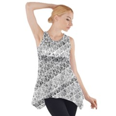 Silver abstract and Stripes Side Drop Tank Tunic